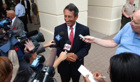 Governor Mark Sanford responded to questions about his wife and sons moving from the state residence in front of the Beaufort County Courthouse in Columbia, S.C.