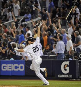 Mark Teixeira's bat goes high into the night, much like the ball it hit for a go-ahead homer.