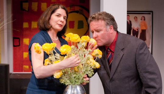 "Anne Gottlieb as Stevie and Robert Pemberton as Martin in Gloucester Stage Company's production of Edward Albee's ""The Goat, or Who Is Sylvia?''"
