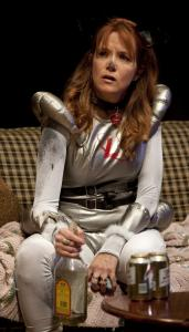 "Lea Thompson is as perky and winsome as ever as Caroline (here playing Laika the space dog) in the Williamstown Theatre Festival's production of ""Caroline in Jersey.''"