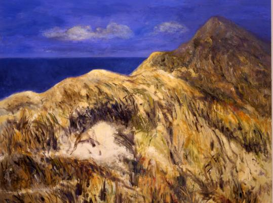 Clockwise from above: &#8220;Truro Dune #10&#8217;&#8217; by painter Anne Peretz, &#8220;Truro Woods #14&#8217;&#8217; also by Peretz, and sculptor Varujan Boghosian&#8217;s &#8220;Pluto.&#8217;&#8217;
