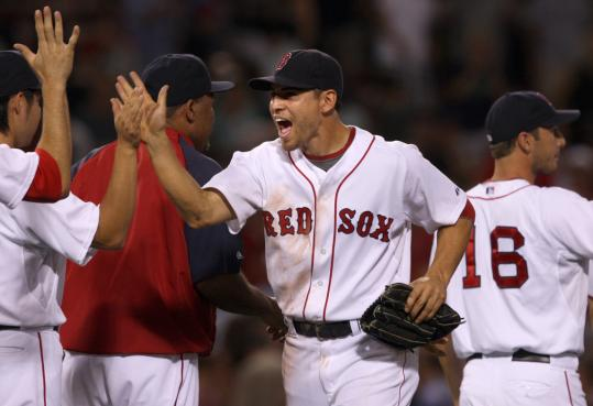 Jacoby Ellsbury (two hits, stolen base) was one happy Red Sox after a win over the Tigers.