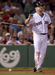 Kevin Youkilis wasn't pleased after getting hit by an Edwin Jackson pitch in the fourth.