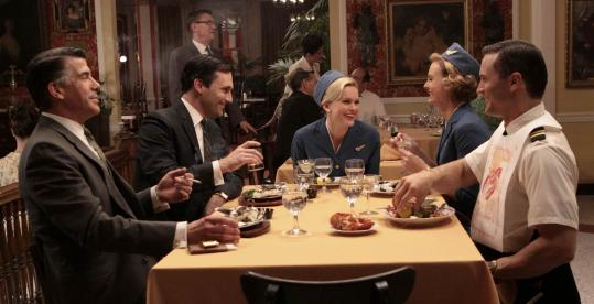 "From left: Sal (Bryan Batt), Don (Jon Hamm), Shelly (Sunny Mabrey), Lorelai (Annie Little), and Jack (Joel Lambert) in AMC's ""Mad Men.''"