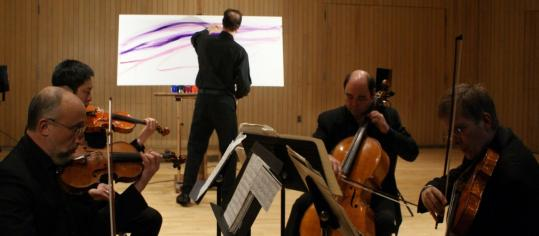 Painter Jim Schantz and the Hawthorne String Quartet, frequent collaborators, will team up tonight.