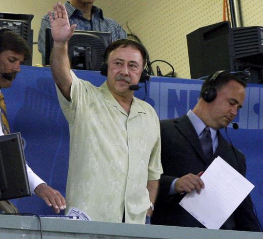 Jerry Remy waved from the Fenway broadcast booth Wednesday. He says it is important to talk publicly about dealing with depression.