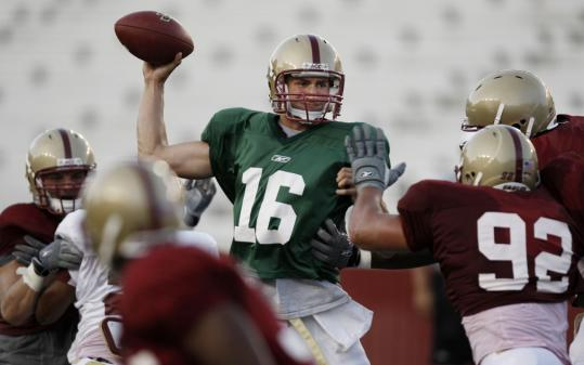 BC quarterback Mike Marscovetra gets off a pass during the scrimmage at Alumni Stadium.
