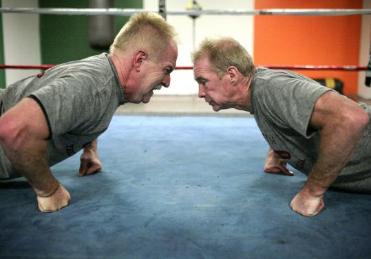 "Richie Farrell (left) works out with Dicky Eklund at Gold's Gym in Chelmsford. Eklund was featured in Farrell's documentary, ""High on Crack Street.''"