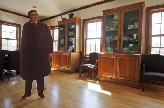 Chester Arthur memorabilia and a cutout stood in Fairfield, Vt., town office. Claims about his birthplace have resurfaced.