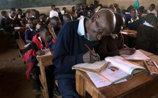 Joseph Maruge, attending class at Kapkenduiywo Primary School in Langas, Eldoret.