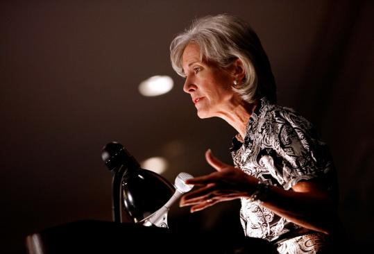 Health and Human Services Secretary Kathleen Sebelius's downplaying of a government insurance plan is opposed by liberals.