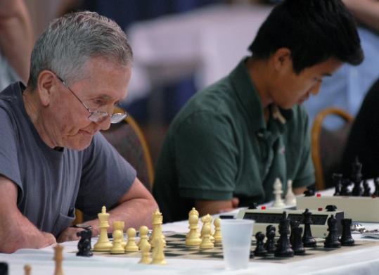 John Curdo, 77, competing in last Sunday's Continental Open in Sturbridge, has 830 career chess tournament victories.