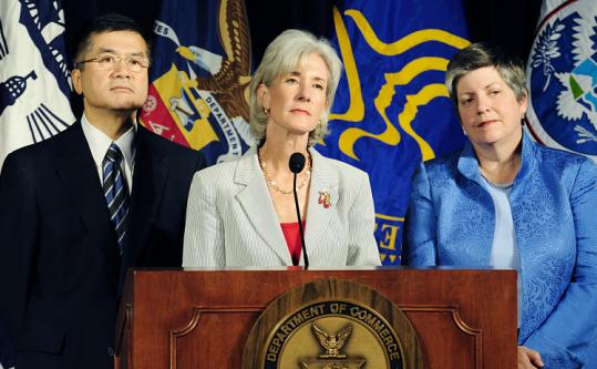 From left: Gary Locke, Kathleen Sebelius, and Janet Napolitano urged employers to let sick workers stay home.