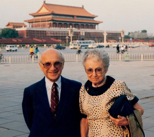 """Milton and Rose D. Friedman in China. He """"always made me feel that his achievement is my achievement,'' she said."""