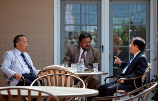 Governor Bill Richardson of New Mexico (center) and his adviser Tony Namkung conferred with North Korean Minister Myong Gil Kim (right) at yesterday&#226;&#128;&#153;s Governor&#226;&#128;&#153;s Mansion meeting.