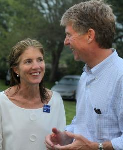 PETER SIMONCaroline Kennedy chats with New York district attorney hopeful Cy Vance Jr. at a fund-raiser on Martha's Vineyard.