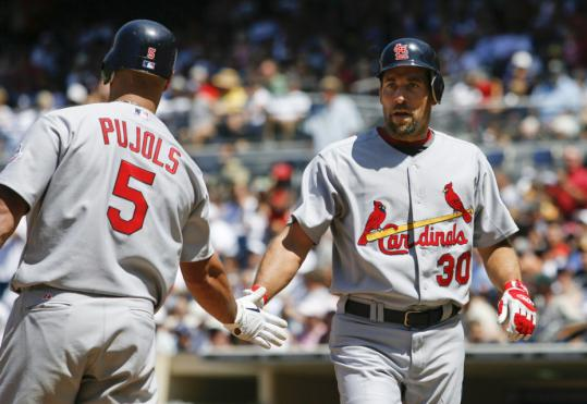 It was a big day for John Smoltz (five scoreless innings) and Albert Pujols (40th home run) in the Cardinals' victory over the Padres.