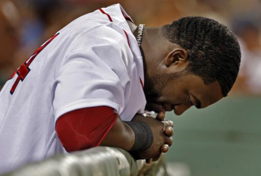 Designated sitter David Ortiz remained on the bench in the ninth inning.