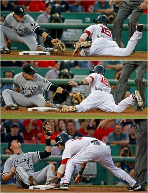 Red Sox second baseman Dustin Pedroia utilized a nifty slide (pulling back his left hand from the tag and instead grabbing the base with his left foot) to steal third base in the first inning.