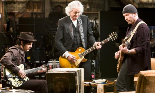 "ERIC LEE/SONY PICTURES CLASSICSFrom left: Jack White, Jimmy Page, and the Edge jamming in Davis Guggenheim's documentary ""It Might Get Loud.''"