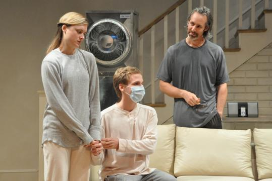 """From left: Rebecca Brooksher, Ryan Spahn, and Michel Gill star in the Berkshire Theatre Festival's production of Zayd Dohrn's """"Sick.''"""