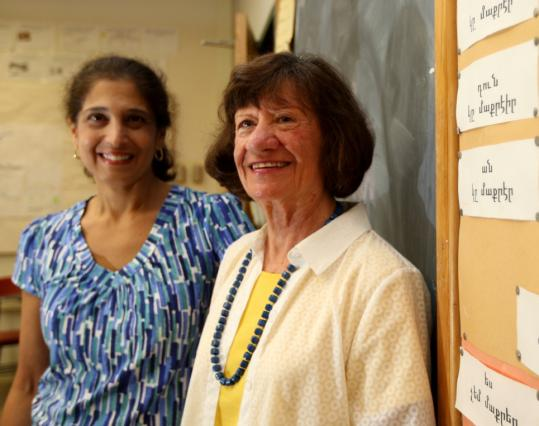 Siran Tamakian (left) teaches Armenian to freshmen and sophomores at the high school, and Anahid Yacoubian taught advanced classes until last spring.