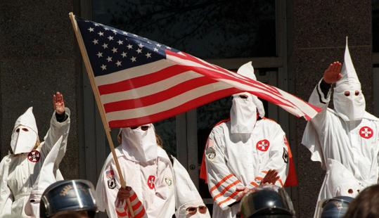 A 1999 rally on the steps of a Pennsylvania courthouse by the Knights of the Klu Klux Klan.