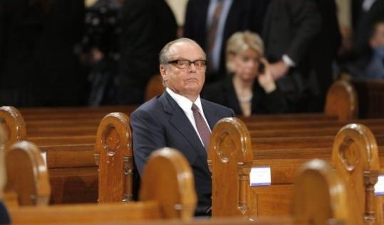 Jack Nicholson, at the funeral.