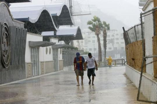 Much of Cabo San Lucas was closed yesterday with residents and tourists bracing for Hurricane Jimena.