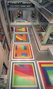 "Sol LeWitt's ""Bars of Color Within Squares'' at MIT's Green Center for Physics."