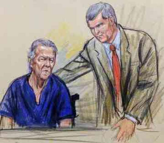 An artist's rendering of James von Brunn (left) with lawyer A.J. Kramer in court.