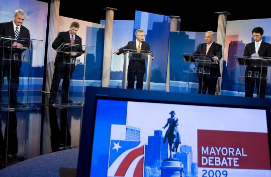 With Jon Keller (center) of WBZ-TV moderating, City Councilor Michael F. Flaherty, businessman Kevin McCrea, Mayor Thomas M. Menino, and City Councilor Sam Yoon squared off in their first debate last night.