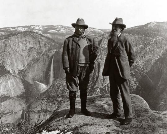 President Roosevelt was able to promote conservation by taking trips with well-known preservationists like John Muir, shown here in Yosemite.