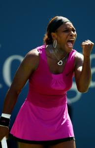 Defending champ Serena Williams stayed pumped up during her third-round match against Maria Jose Martinez Sanchez.
