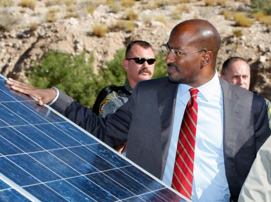 Van Jones, shown last month in Las Vegas during the National Clean Energy Summit, resigned under fire yesterday from his post as the White House environmental adviser.