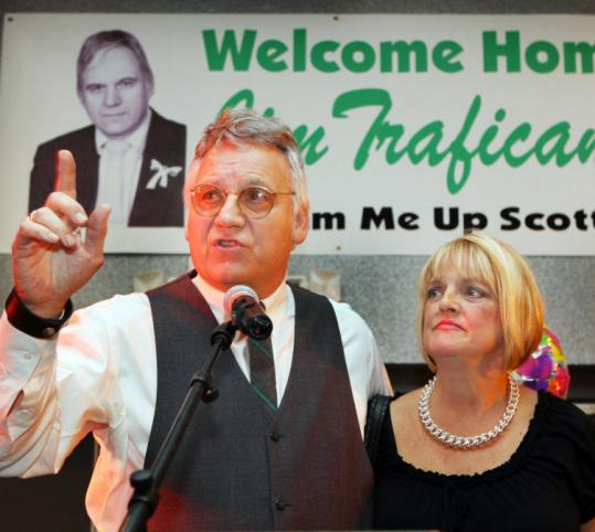 Former Ohio Congressman Jim Traficant, with his wife, Tish, addressed his supporters Sunday at a welcome home party.