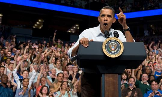 President Obama spoke to supporters at a rally in Minneapolis yesterday as part of a weekend-long campaign to build momentum for his health care proposal.