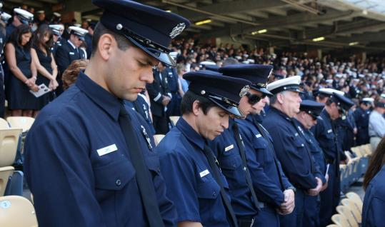 Firefighters from California and other parts of the country attended a memorial yesterday at Dodger Stadium for the two men.