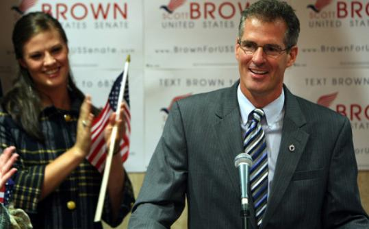 Scott Brown announced his candidacy for the US Senate seat held by Edward M. Kennedy. His daughter Ayla applauded.