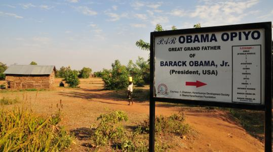 "President Obama's relatives put up a sign showing his lineage in the village of Kobama - which means ""land of Obama,'' where his great-grandfather is buried."