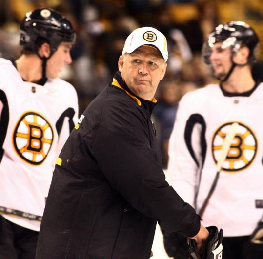 Bruins coach Claude Julien and his players were back on the TD Garden ice yesterday for the first official practice of camp.