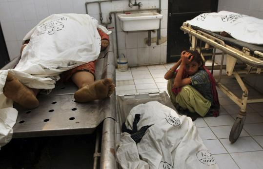 Dead bodies of suspects Militants... Pictures | Getty Images