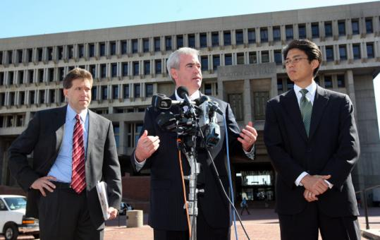 Mayoral candidates (from left) Kevin McCrea, Michael Flaherty, and Sam Yoon called for a criminal investigation.
