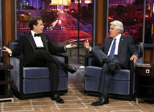 Comedian Jerry Seinfeld appeared on Jay Leno's show last night.