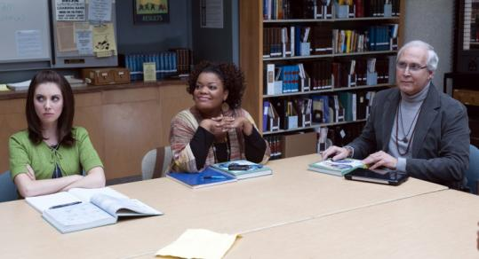 "Alison Brie (left), Yvette Nicole Brown, and Chevy Chase are community college study group partners in ""Community.''"