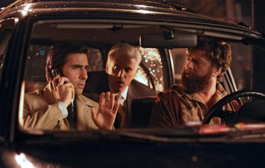 "PAUL SCHIRALDI/HBOFrom left: Jason Schwartzman with costars Ted Danson and Zach Galifianakis in HBO's new comedy ""Bored to Death.''"