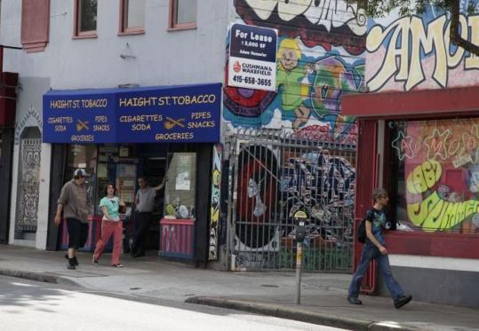 There is a moratorium on head shops in San Francisco's Haight Ashbury district. Above, a tobacco and record shop on Haight.