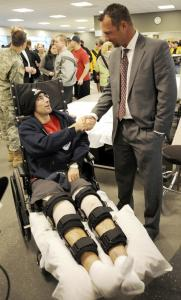 Red Sox pitcher Tim Wakefield chatted with Private First Class Sean Bannon of Winthrop at the Walter Reed Army Medical Center in Washington in 2008.