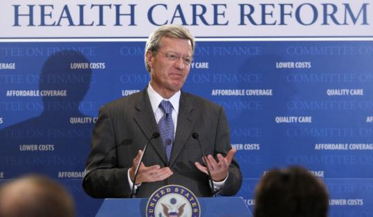 Senator Max Baucus, chairman of the Senate Finance Committee, unveiled a health care plan that does not include a government-sponsored insurance option.
