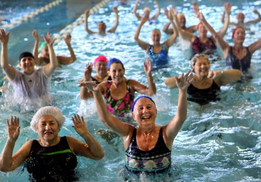 Aquaerobics at the Jewish Community Center of the North Shore in Marblehead, which has lost 20 percent of its members in the past year.